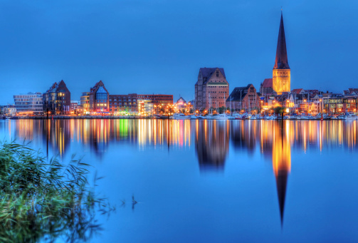 City port of Rostock, Germany by night