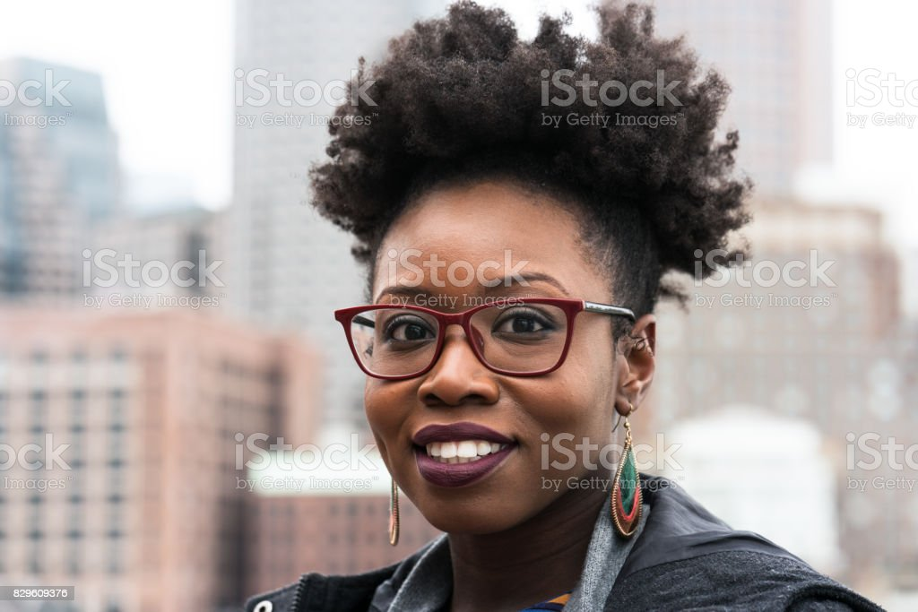 City portrait of a young woman stock photo