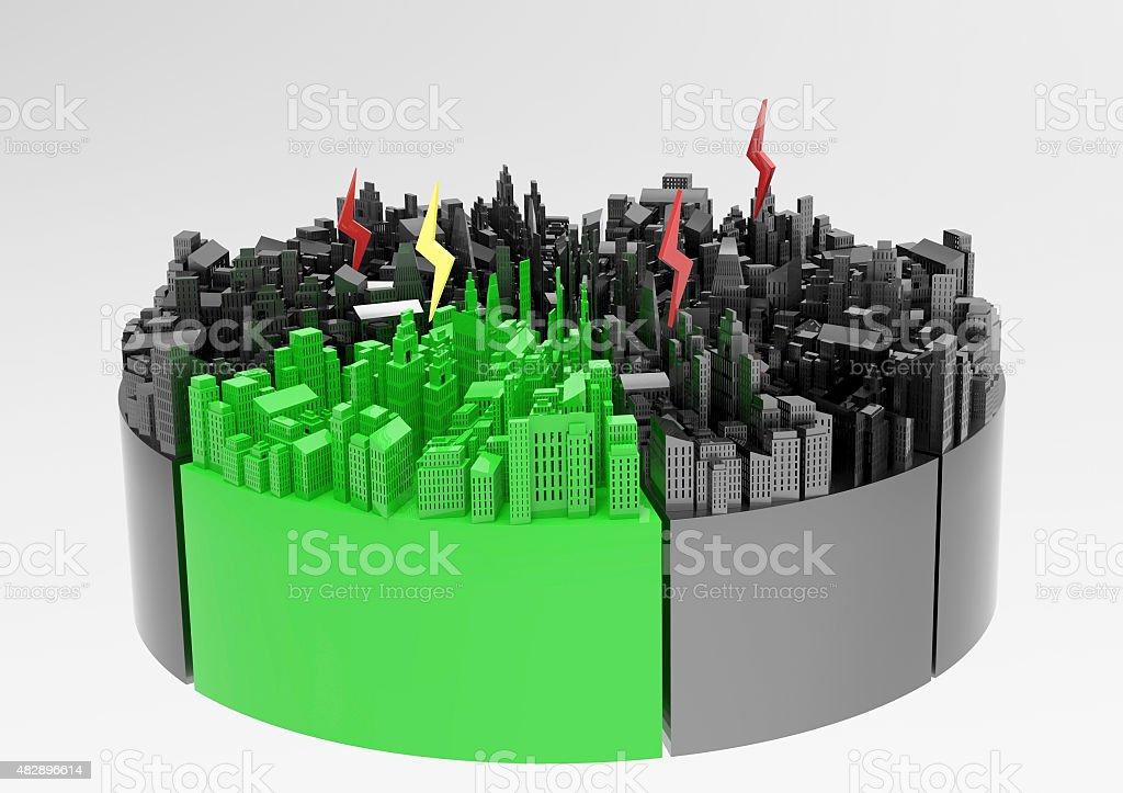 city power grid grafico a torta - foto stock