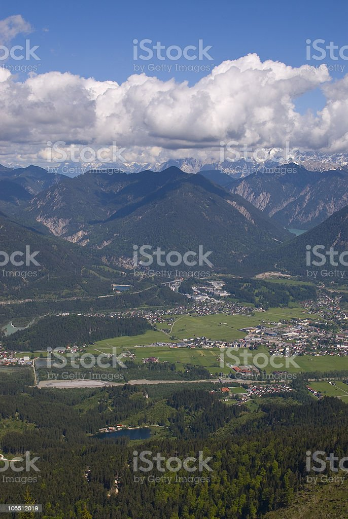 "City ""Reutte"" in Tyrol from above royalty-free stock photo"