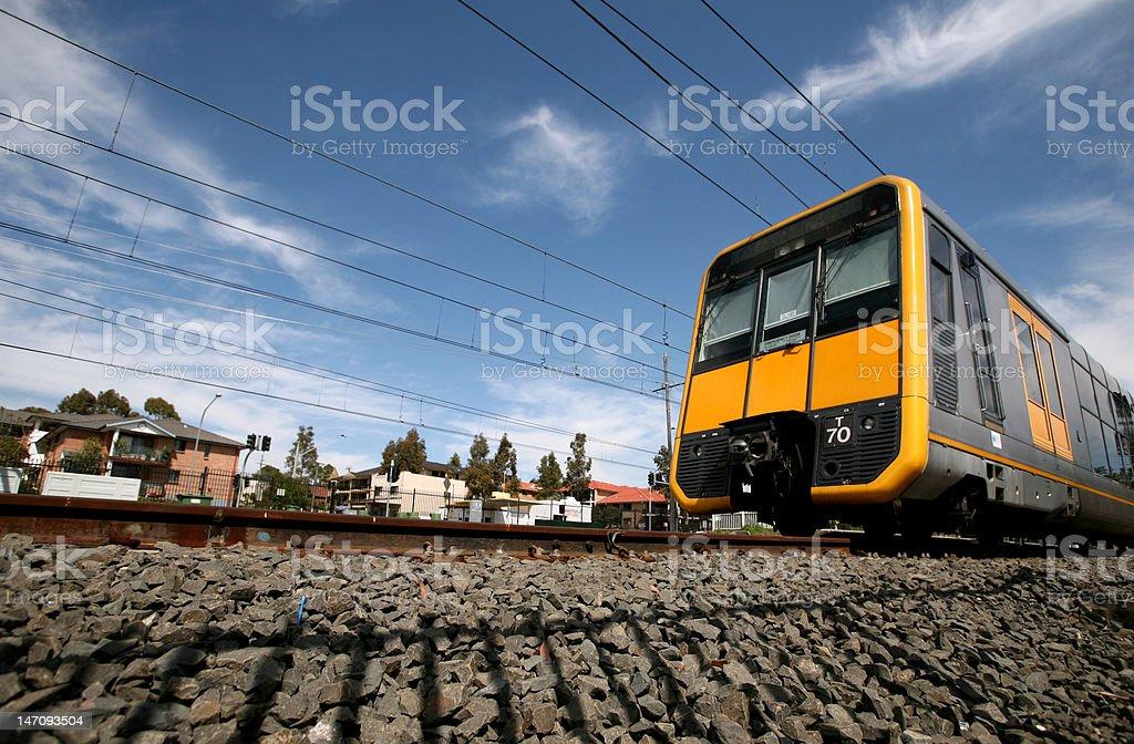 City Rail Train Leaving Westmead Station stock photo