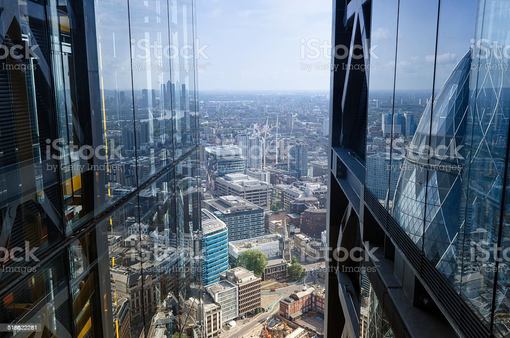 City reflections, architectural abstract, London stock photo