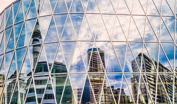 City reflections stock photo