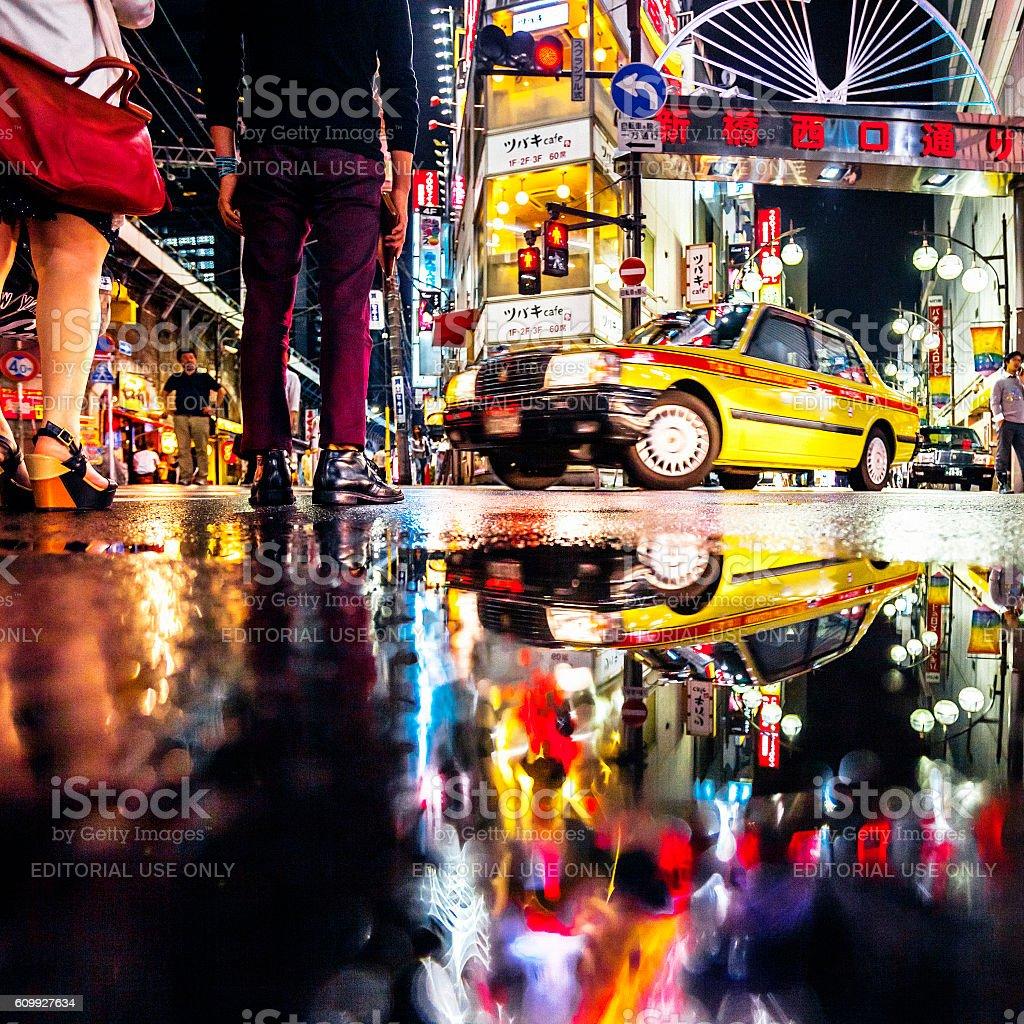 City reflections, Shimbashi, Tokyo. stock photo