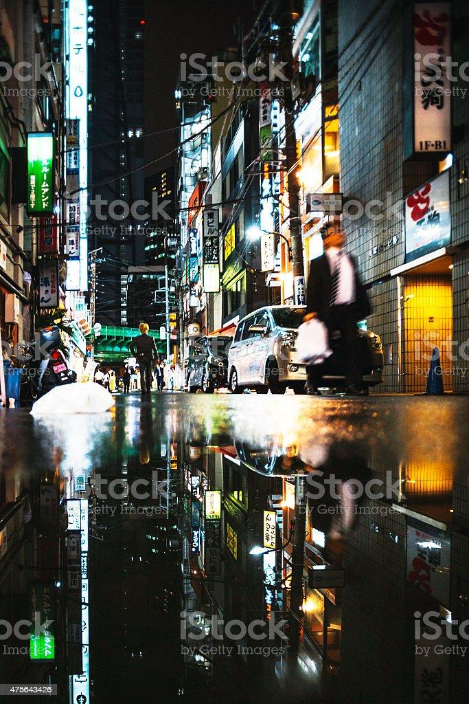 City reflections, Tokyo. stock photo