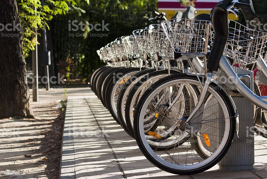 City Rental Bikes In A Row royalty-free stock photo