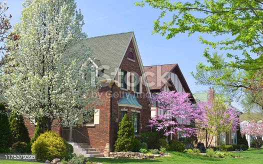 Typical Midwest USA city suburbs (Chicago in this case) neighborhood on a nice spring day.
