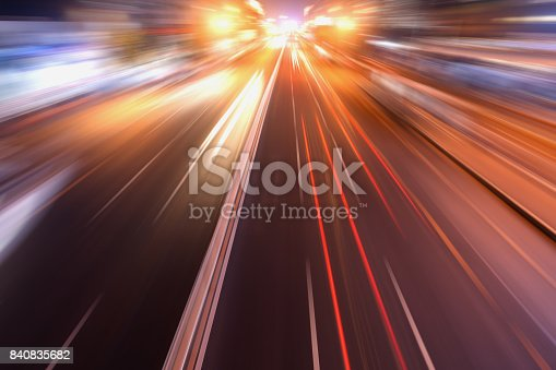 istock city road in radial blur in night with lights on 840835682