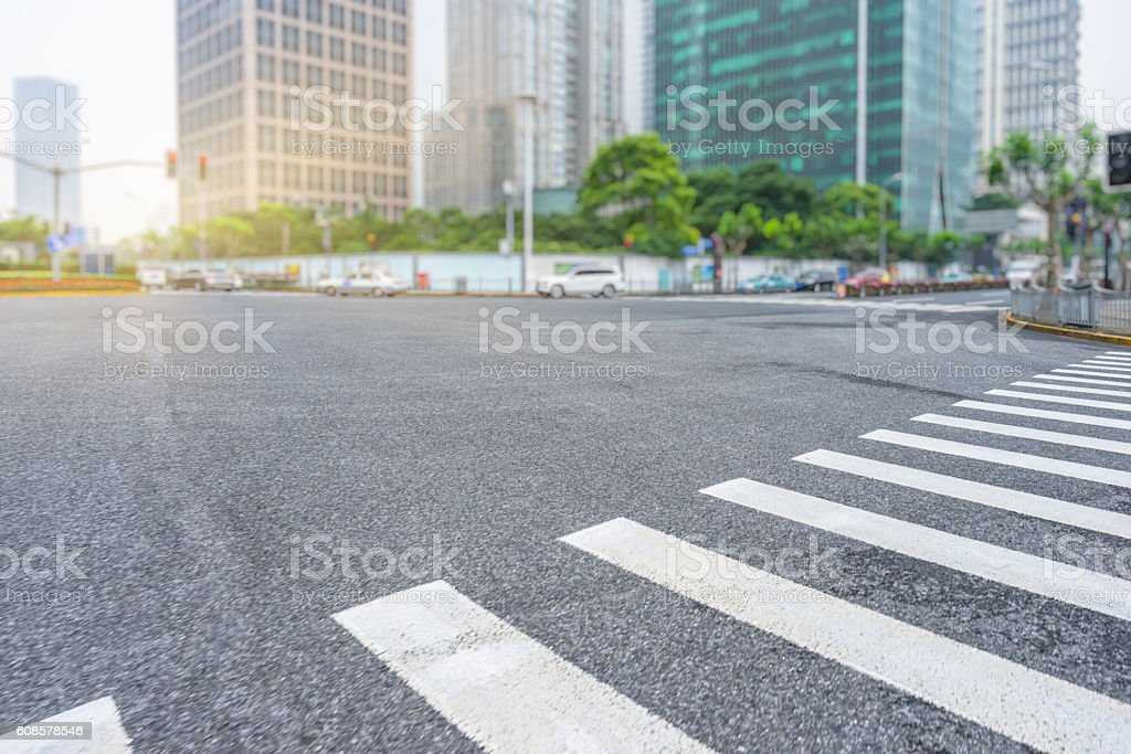 City road with moving car - Photo