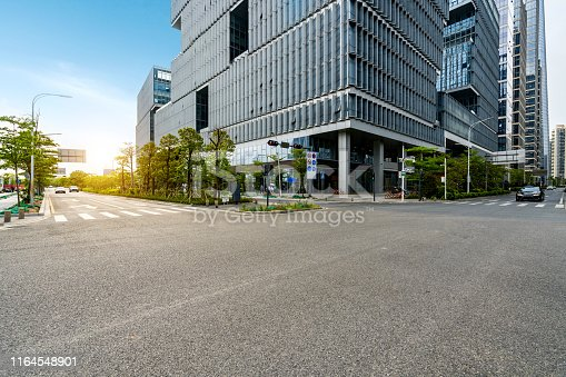City roads and modern office buildings in Shenzhen, China