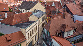 Bamberg 2019. Roofs and streets of the city on a sunny but cloudy summer morning. August 2019 in Bamberg.