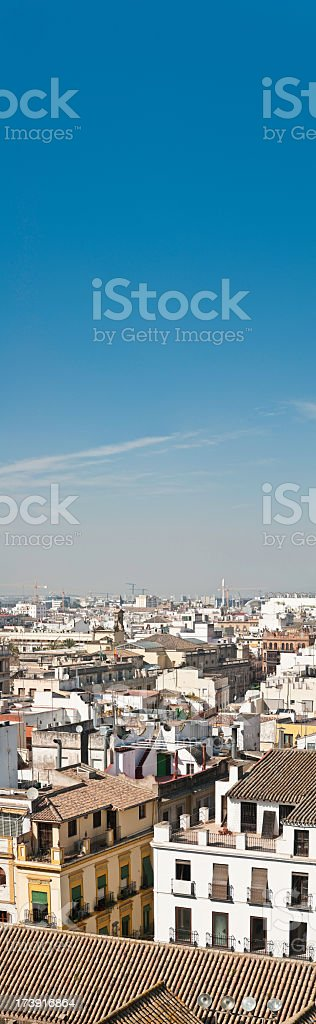 City rooftops Spain vertical banner stock photo