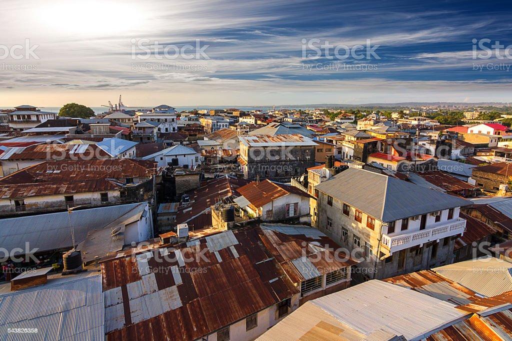 city rooftops zanzibar stock photo