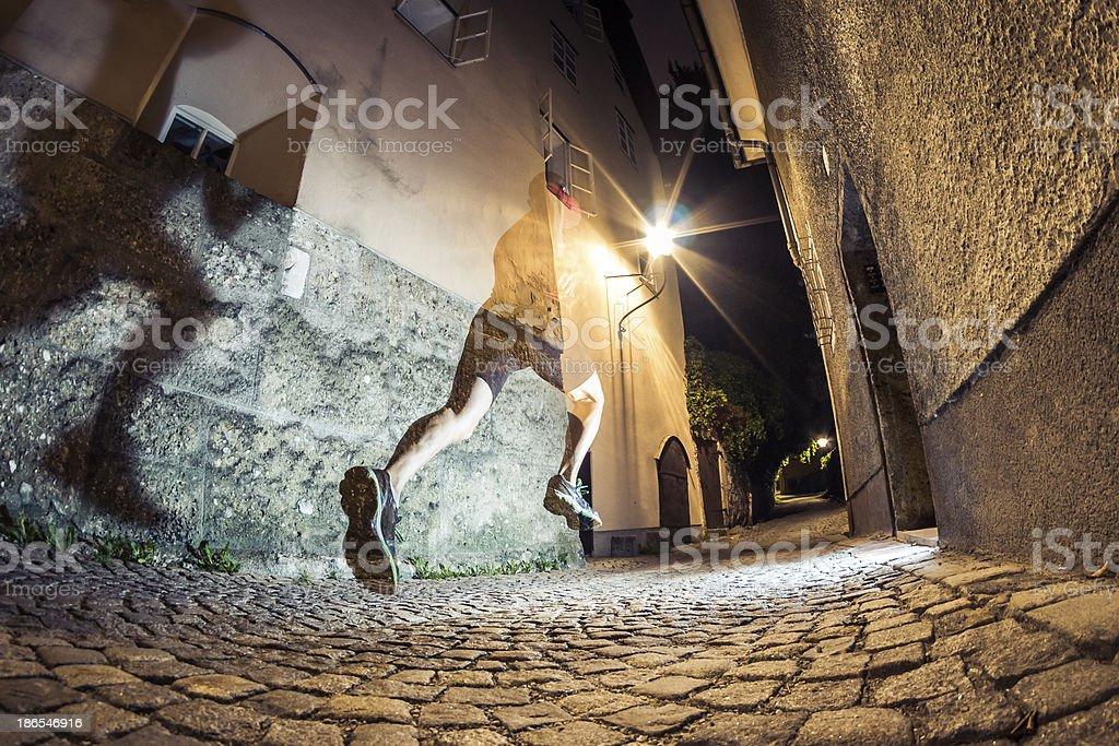 City Running at Night royalty-free stock photo