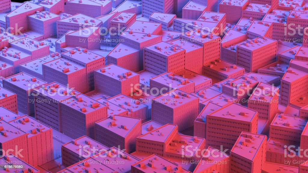 City sacpe in red and blue highlights. 3d rendering stock photo