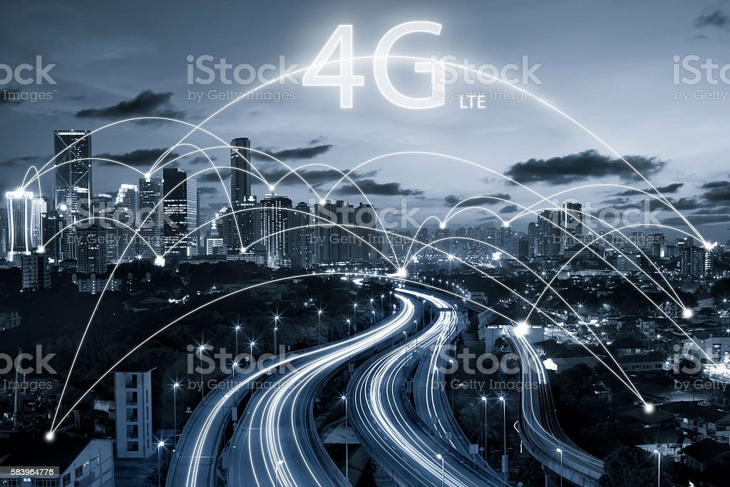 city scape and connection concept and 4g LTE font stock photo