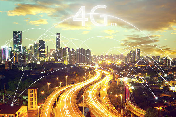 city scape and connection concept and 4g lte font - 4g foto e immagini stock