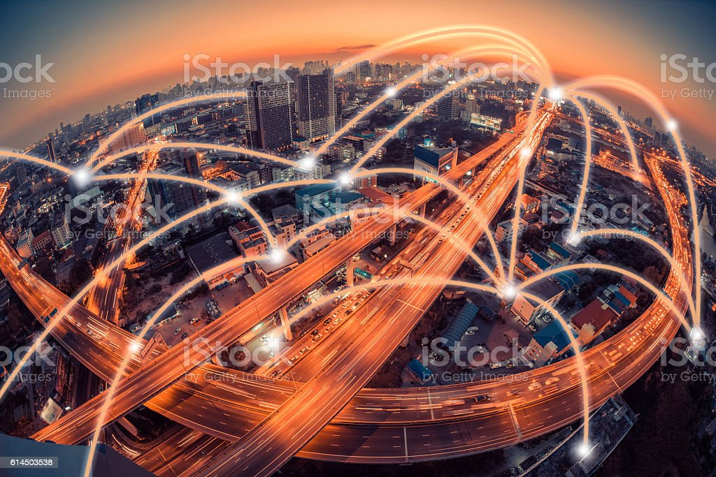 city scape and network connection concept stock photo