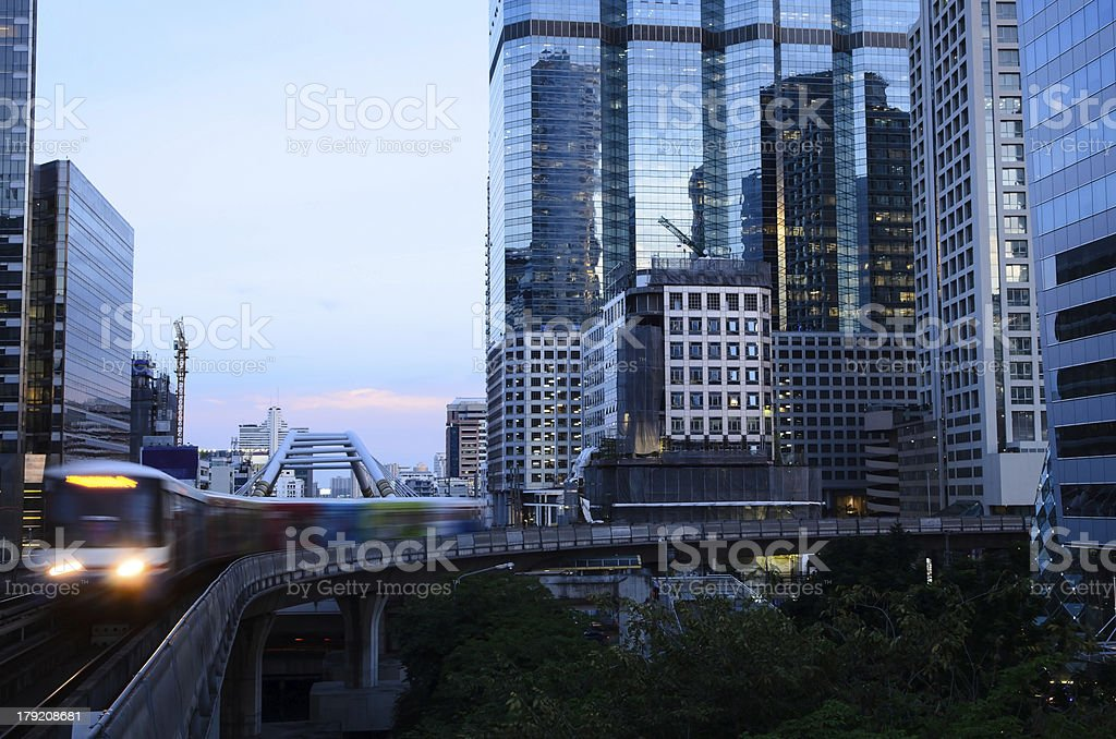 city scape and skytrain royalty-free stock photo
