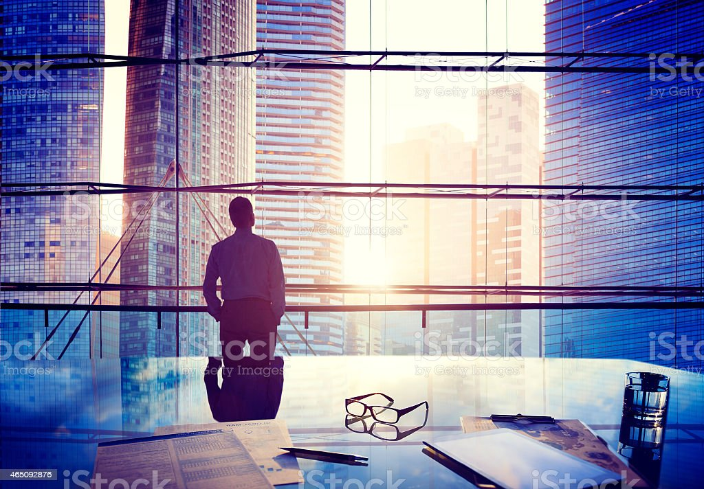City Scape Businessman Thinking Concepts stock photo