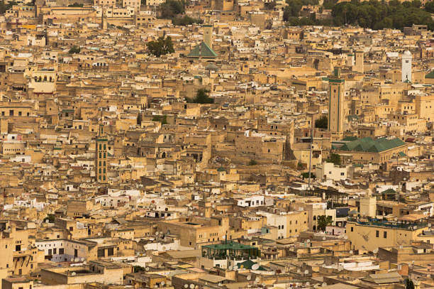 City scape of ancient Fez, Morocco. stock photo