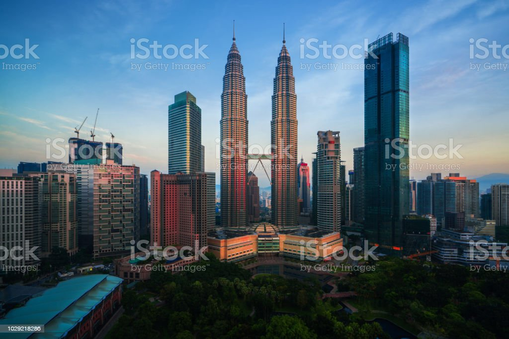 City scape of morning sunrise in Kuala lumpur city, twin tower,...