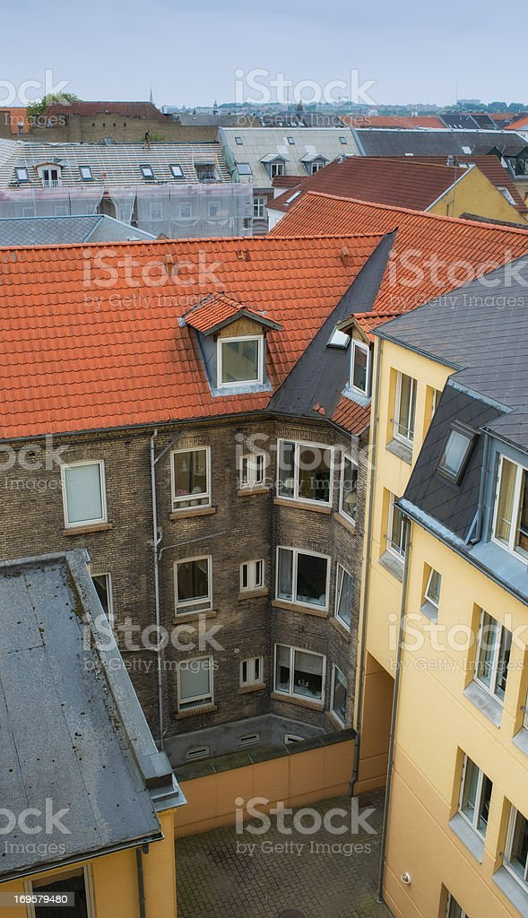 A City scape of old houses in Aalborg, Denmark royalty-free stock photo