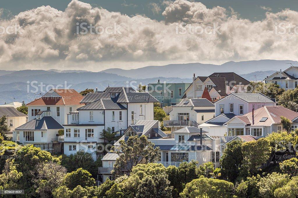 City scape of Wellington, New Zealand stock photo