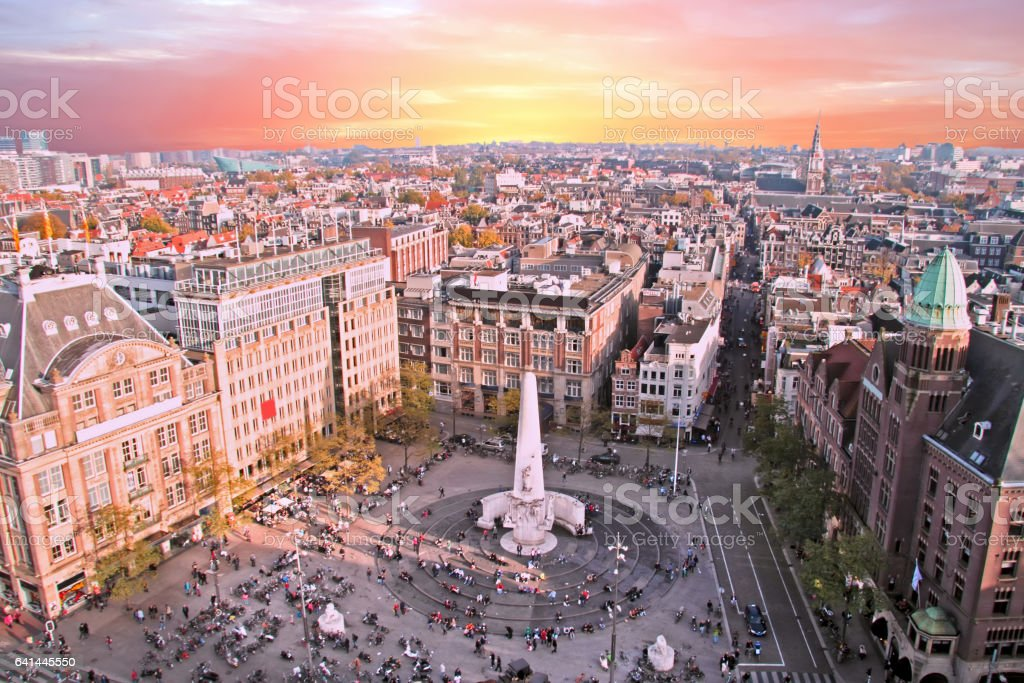 City scenic from Amsterdam in Netherlands at sunset stock photo