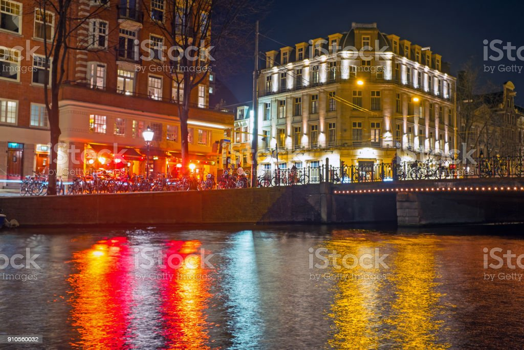 City scenic from Amsterdam in the Netherlands at night stock photo