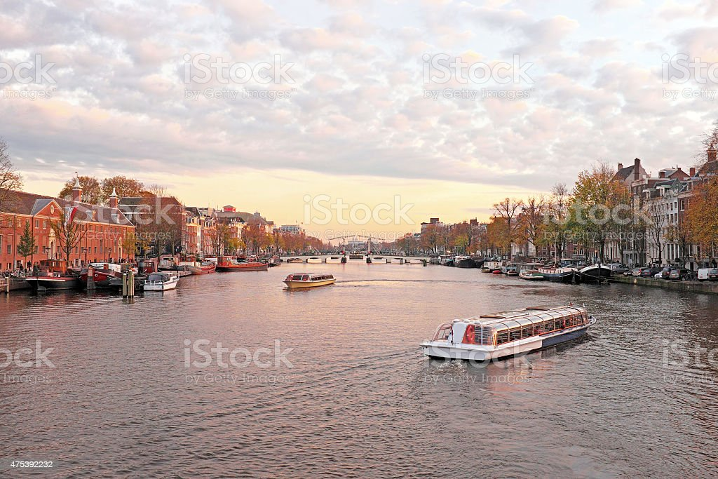 City scenic from Amsterdam in the Netherlands at twilight stock photo