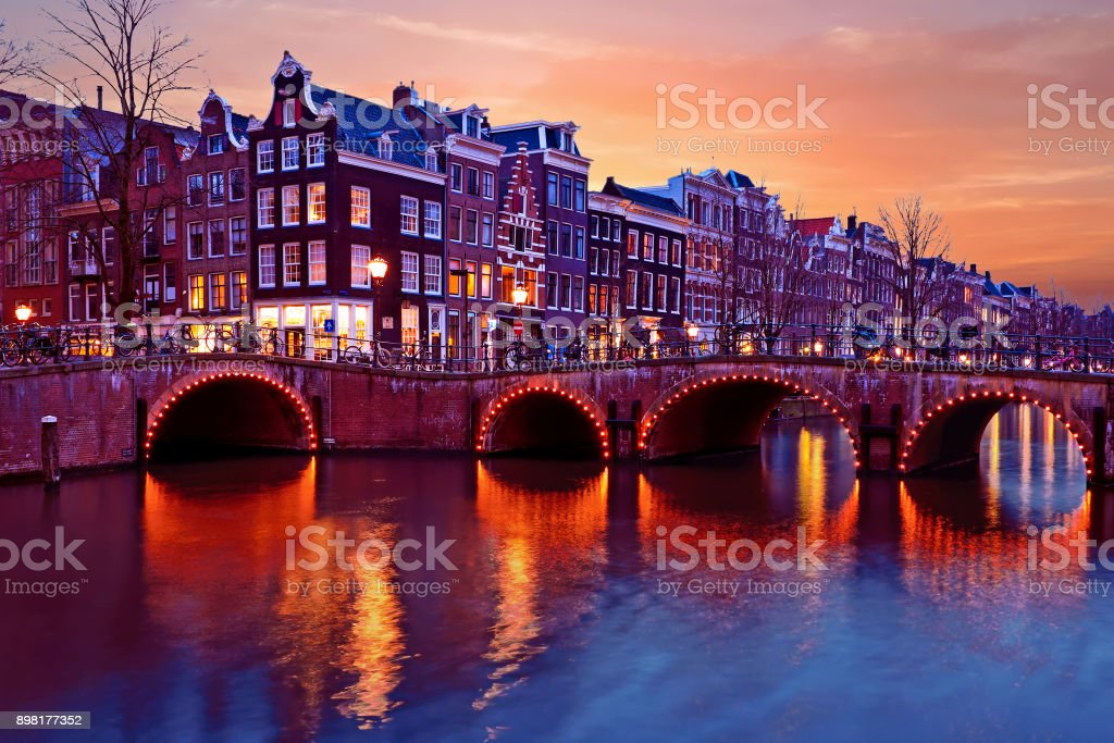City scenic from Amsterdam Netherlands at sunset stock photo
