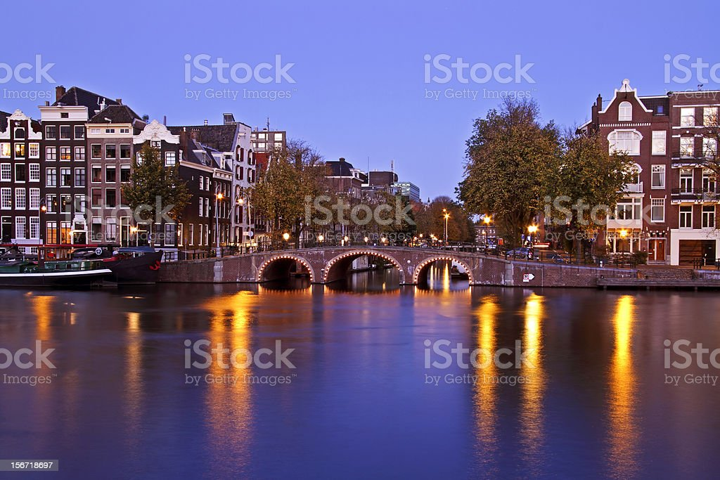 City scenic from Amsterdam Netherlands at twilight royalty-free stock photo