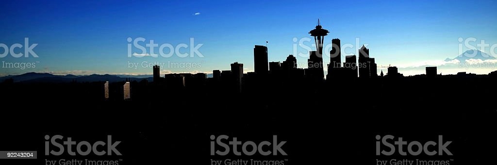 City - Seattle Skyline Sillouette royalty-free stock photo