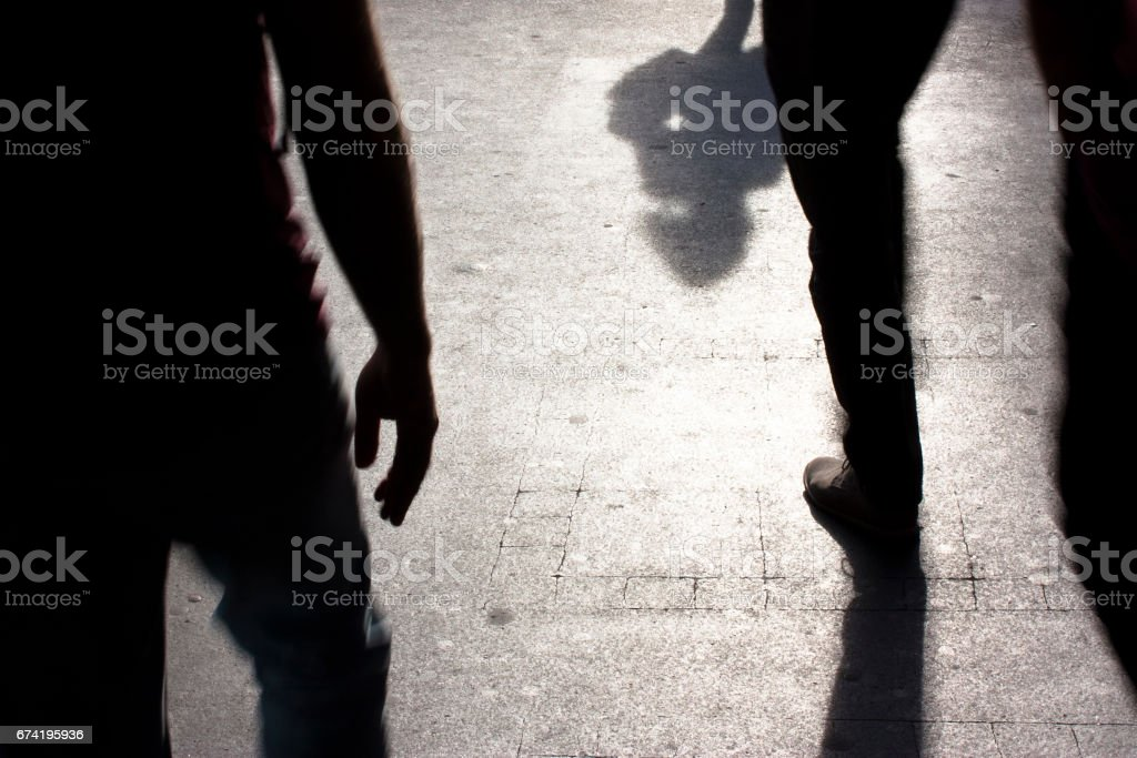 City shadows and silhouettes stock photo