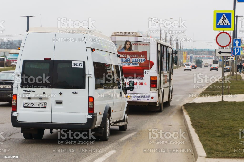 Krasnodar Russia March 2018 City Shuttle Bus On The Streets Of The City Spreads Locals And Tourists Stock Photo Download Image Now Istock
