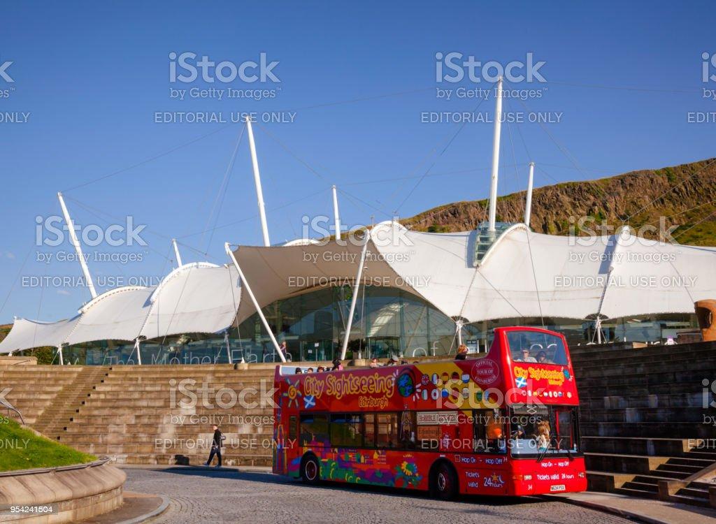 City Sightseeing bus at Dynamic Earth in Edinburgh Scotland UK stock photo