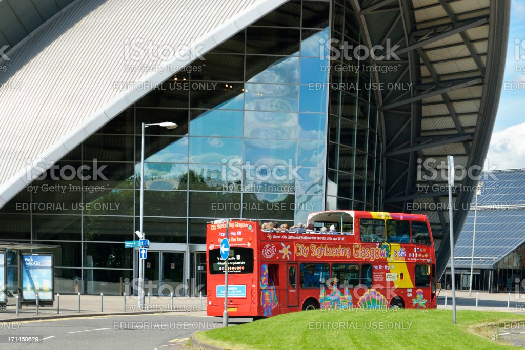 City sightseeing bus outside the Clyde Auditorium, Glasgow stock photo