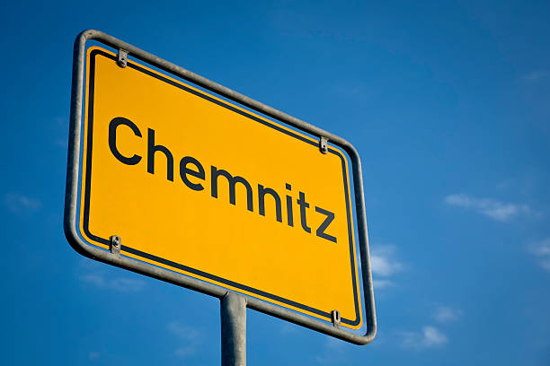 city sign of chemnitz, saxony - place sign stock pictures, royalty-free photos & images