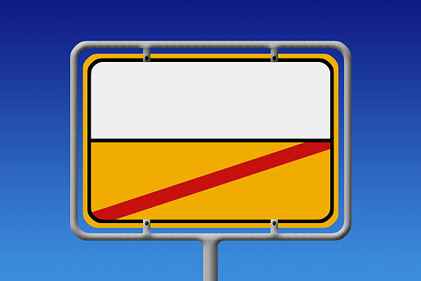city sign white yellow without text - place sign stock pictures, royalty-free photos & images