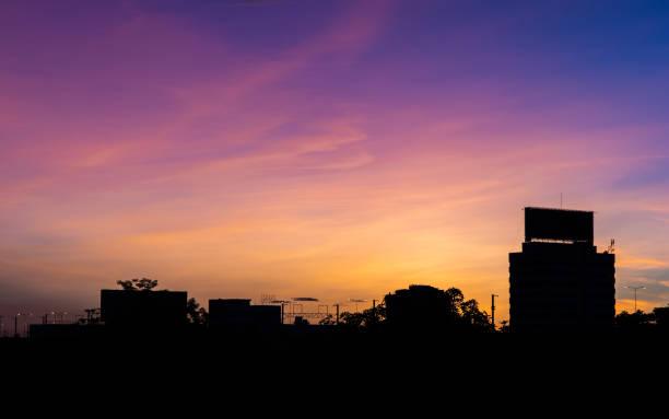 City silhouette against the sky on a sunrise, Bangkok, Thailand. stock photo