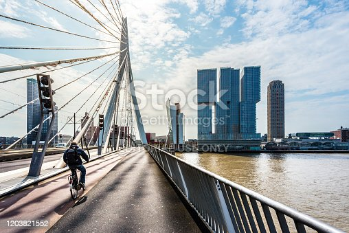 Rotterdam, Netherlands - June 7, 2016 : erasmus bridge in rotterdam, cyclist rides into the sunrise, rotterdam, netherlands