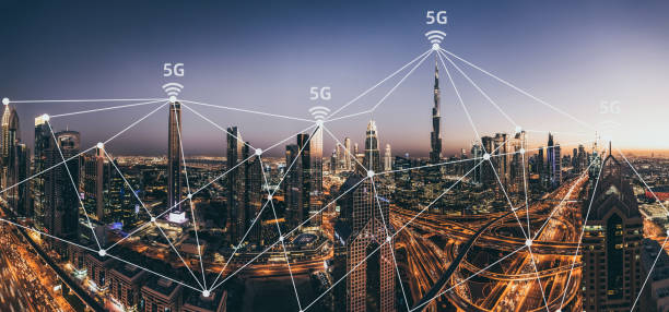 City Skyline and 5G Network stock photo