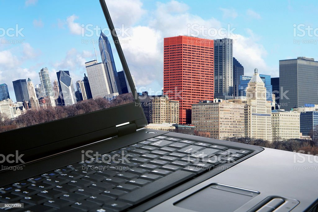 City Skyline and Laptop royalty-free stock photo