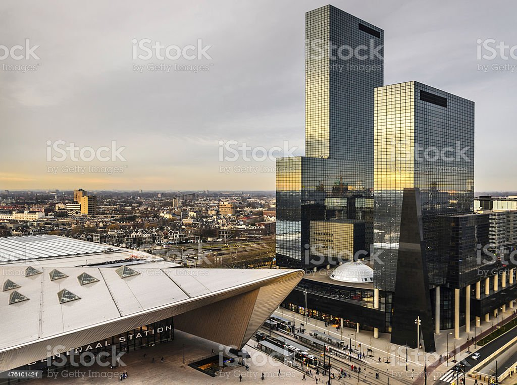 City skyline and Rotterdam Centraal Station stock photo