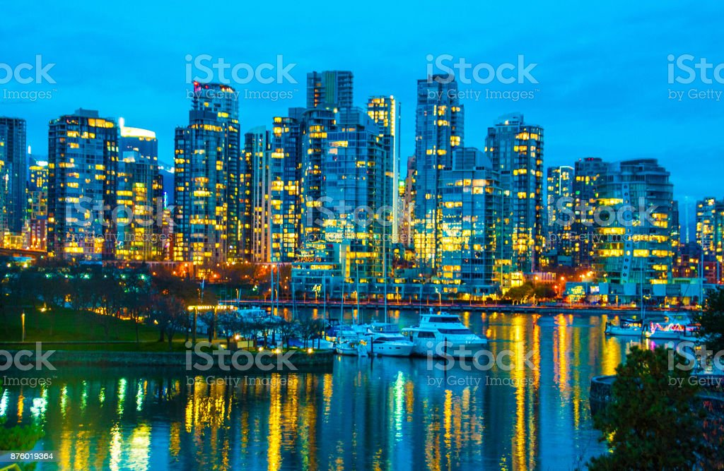 City Skyline at Dusk stock photo
