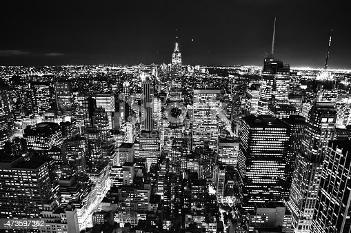City Skyline at Night in New York USA. Black and White.