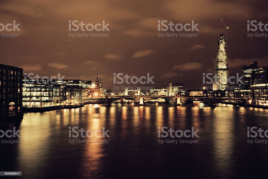 City Skyline at Night, London royalty-free stock photo