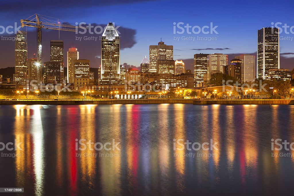 City skyline at night, Montreal, Canada royalty-free stock photo