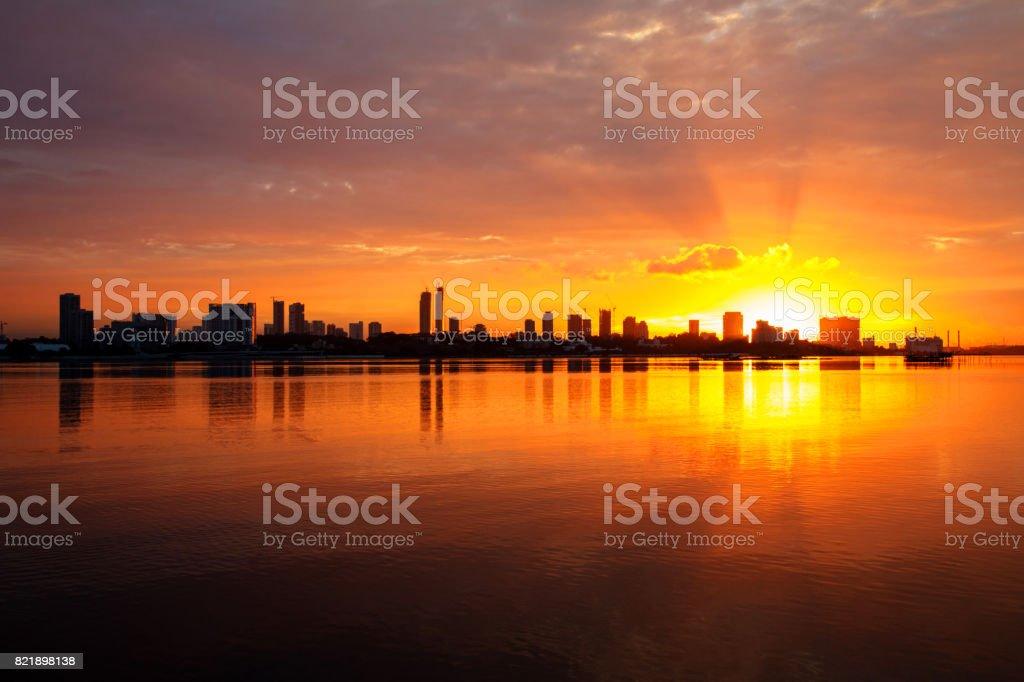 City Skyline at sunrise stock photo